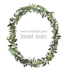 beautiful leafy frame wreath eucalyptus vector image