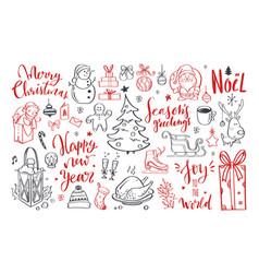big set christmas design doodle elements 7 vector image