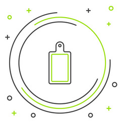 Black and green line cutting board icon isolated vector