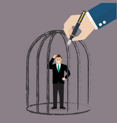businessman standing in a hand drawn cage vector image
