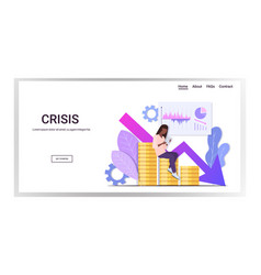 businesswoman analyzing statistics and charts vector image