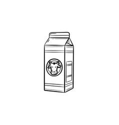 Carton box of milk hand drawn sketch icon vector