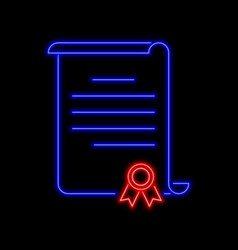 Certificate of honor neon sign bright glowing vector