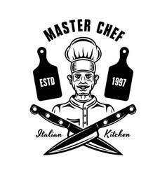 chef cooking emblem badge label or logo vector image