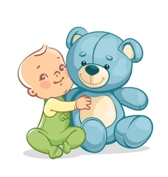 Child with big blue teddy bear vector