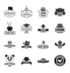 China travel logo icons set simple style vector
