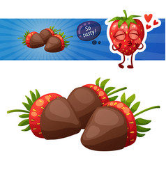 chocolate covered strawberries icon cartoon vector image