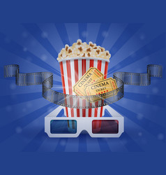 cinema concept popcorn film tickets and 3d vector image