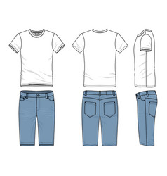 clothing set of t-shirt and jeans vector image