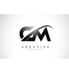 Cm c m swoosh letter logo design with modern vector