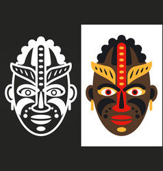 colorful and white african tribal masks vector image