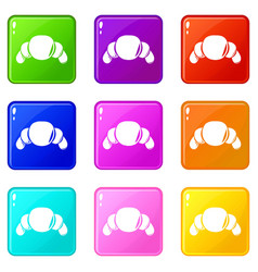 croissant icons set 9 color collection vector image