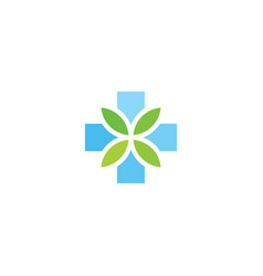 cross and leaves herbal pharmacy icon design vector image