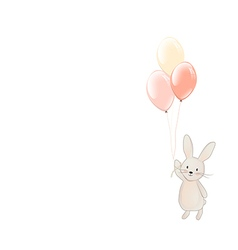 Cute fl bunnyy with balloons vector