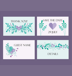 cute wedding card template with hand-drawn floral vector image