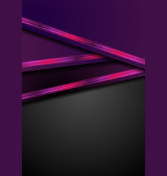 Dark purple abstract background with neon stripes vector