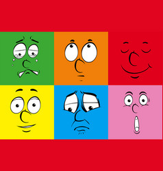 different emotions on colorful background vector image
