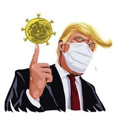 Donald trump wear mask anti coronavirus covid 19 vector