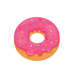 Donut realistic with pink icing isolated vector