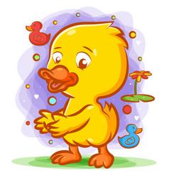 Duck dancing on green grass with the vector