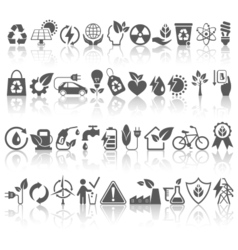 Eco Friendly Bio Green Energy Sources Black Icons vector image