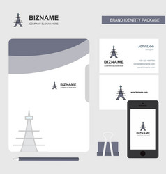 eiffel tower business logo file cover visiting vector image