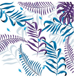 exotic branches plants with tropical leaves vector image