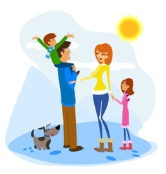 Family Enjoying a Winter Day vector image