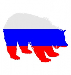 flag of Russia with brown bear vector image