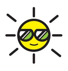 Flat color sun icon vector
