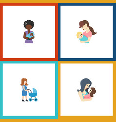 Flat icon parent set of perambulator mam child vector