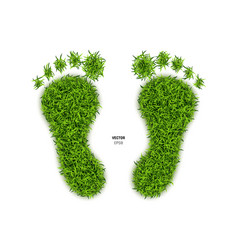 Foot print made of green grass vector