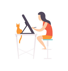 Freelancer girl working at home remote working vector
