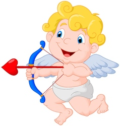 Funny little cupid aiming at someone vector image vector image