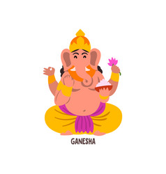 Ganesha indian god cartoon character vector