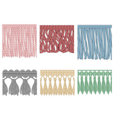 garment fringe ruffle seam trim raw textile edge vector image
