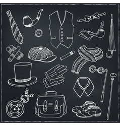 Gentleman vintage accessories doodle set vector