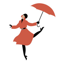 girl in raincoat and umbrella jumping and dancing vector image