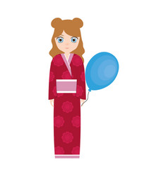 Girl japanese comic balloon decoration vector
