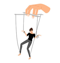 Girl puppet woman control violence puppets vector