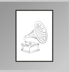 Gramophone poster in black and white for interior vector