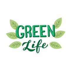 green life phrase template ecology environmental vector image
