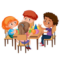 Group of students learning geometric shapes vector