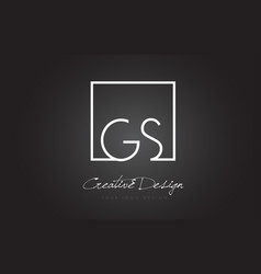 Gs square frame letter logo design with black and vector