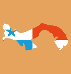 High resolution panama map with country flag flag vector