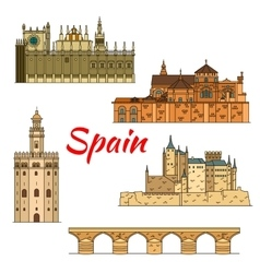 Historical travel landmarks of Spain linear symbol vector image