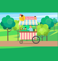 ice cream truck with seller and dessert cream vector image