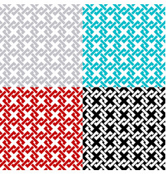 intersected chain squares seamless pattern set vector image