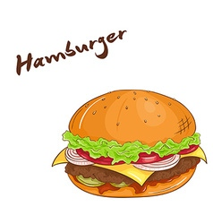 isolated cartoon hand drawn fast food Hamburger vector image vector image