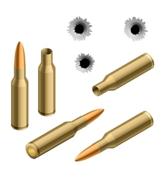 Isometric shot gun bullets and bullet holes vector image